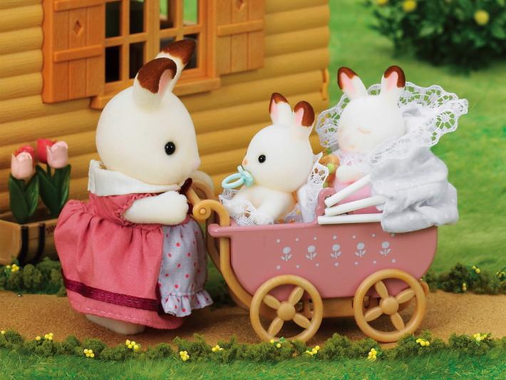 Les jumeaux lapin chocolat et poussette double - 4
